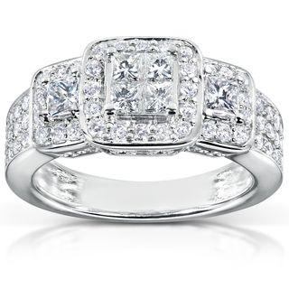 Annello   Anillo de compromiso de oro blanco 14 K con diamantes de 1 ct peso total (H I, I1 I2) Annello Engagement Rings