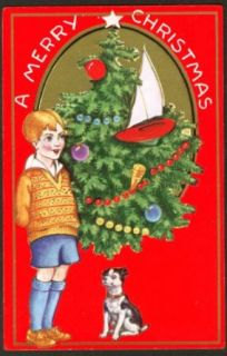 Boy knickers tree dog boat Christmas postcard 191?: Collectibles & Fine Art