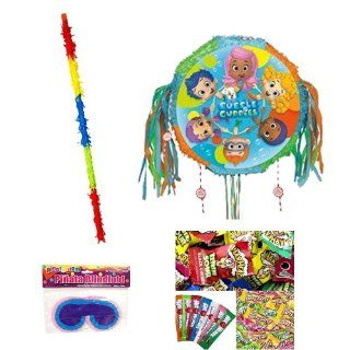Bubble Guppies Pull String Pinatas (Each) Party Pack/Kit Including Pinata, Sweet & Sour Candy Filler Mix 3lb, Buster Stick and Blindfold: Toys & Games
