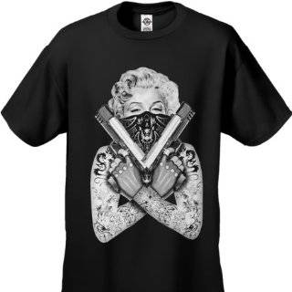 Marilyn Monroe Gangster T Shirt Tee Guns Tattoo Rocksmith #B193: Clothing