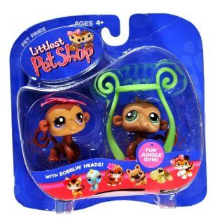 Hasbro Year 2005 Littlest Pet Shop Pet Pairs Series Bobble Head Pet Figure Set   Brown Monkey with Blue Eyes (Boy) and Brown Monkey with Brown Eyes and Pink Bow (Girl) Plus Fun Jungle Gym (50682): Toys & Games
