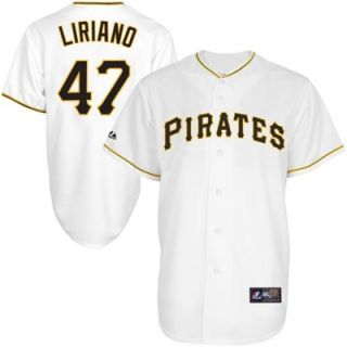 Francisco Liriano Pittsburgh Pirates #47 Majestic Replica Jersey   White