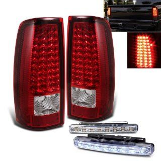 Rxmotoring 1999 2002 Chevy Silverado Pick Up Led Tail Lights + 8 Led Bumper Fog Light: Automotive