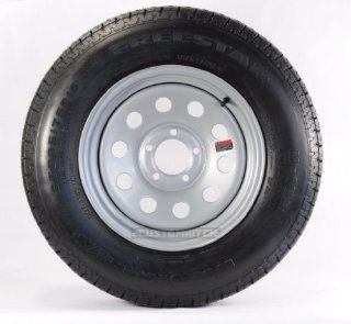 (2) RADIAL TRAILER TIRES & RIMS ST205/75R14 205/75 14 C 5 LUG GRAY GREY MODULAR: Automotive