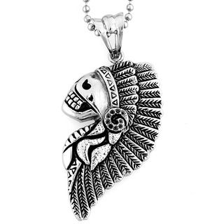Stainless Steel Feathered Chief Headdress Skull Necklace West Coast Jewelry Men's Necklaces