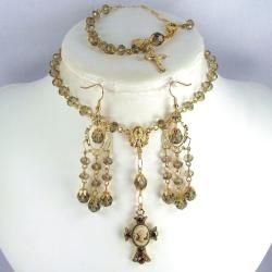 Smoky Quartz Crystal 6 mm Catholic Wedding Jewelry Set Jewelry Sets