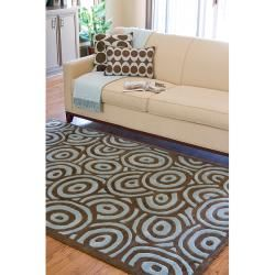 Hand tufted Contemporary Blue/Brown Circles Painterly Brown New Zealand Wool Abstract Rug (3'3 x 5'3) Surya 3x5   4x6 Rugs