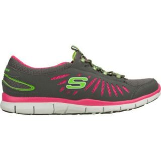Women's Skechers Gratis In Motion Gray/Pink Skechers Slip ons