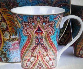 222 Fifth, Demure Turquoise Paisley Replacement Coffee Mug/Cup, 8.5oz