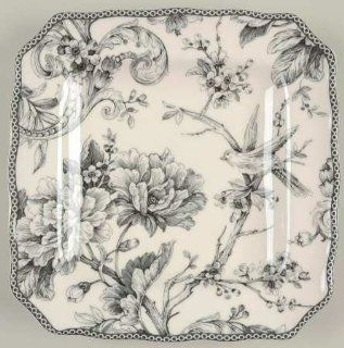 222 Fifth (PTS) Adelaide Grey & White Square Salad Plate, Fine China Dinnerware: Kitchen & Dining