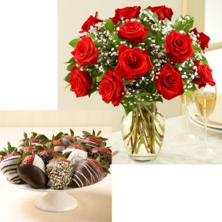 (Pre Order Valentine's Day) Pro Flowers One Dozen Red Roses with 12 Hand Dipped Strawberries Rose Bouquets