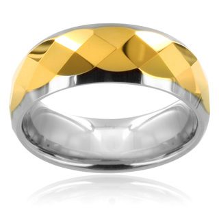 Tungsten Carbide Multi faceted Gold Center Ring Men's Rings