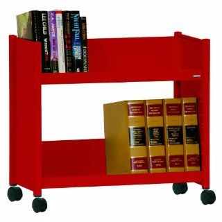 "Sandusky SR227 01 Red Heavy Duty Welded Steel Single Sided Sloped Shelf Book Truck, 2 Shelves, 25"" Height x 29"" Width x 14"" Depth: Industrial & Scientific"