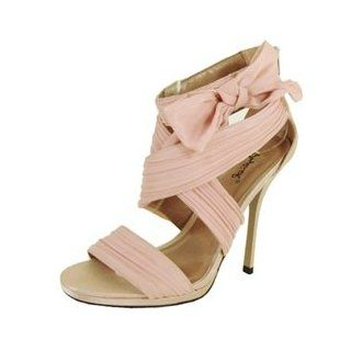 Demand 231! By Qupid Sexy Feminine Criss Cross Wrapped Chiffon Straps with Cute Side Bow Tie Open Toe Sitletto, blush chiffon, 6.5M: Shoes