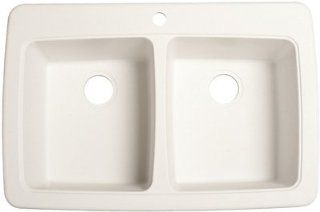 FrankeUSA DP33221 Double Bowl Granite Kitchen Sink, White Granite   Franke Sink