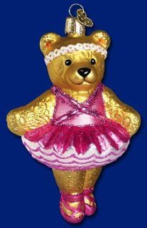 BALLERINA BEAR Glass Christmas Ornament Old World   Christmas Ball Ornaments