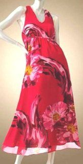Jennifer Lopez Womens Designer Floral Dress Medium Chiffon Caftan Halter Red: Everything Else