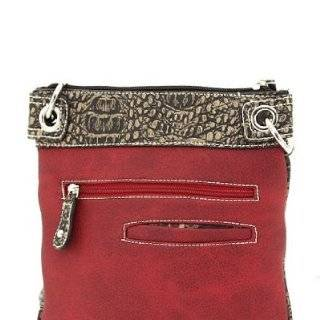 Red Western Rhinestone Buckle Crocodile Hipster Cross Body Purse Clothing