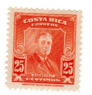 Postage Stamps Costa Rica. One Single 25c Orange Red Roosevelt Stamp Dated 1947, Scott #254.: Everything Else