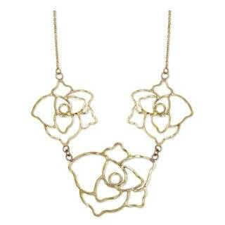 Fantasy Jewelry Box Womens Helen's Gold Hammered Metal Rose Statement Necklace   Final Sale   Final Sale Jewelry