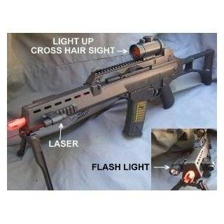 Double Eagle G36 Spring Airsoft Gun w/ Bipod, Laser, Red Dot Sight, and Flashlight 270 FPS Airsoft Gun Sports & Outdoors