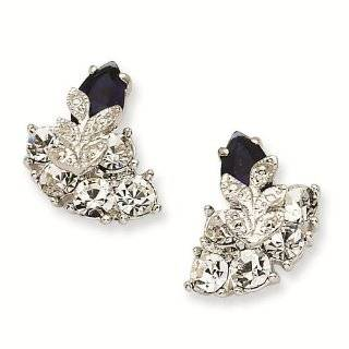 Silver tone Swarovski Crystal Blue Snowflake Post Earrings   Jacqueline Kennedy Jewelry: Reeve and Knight: Jewelry