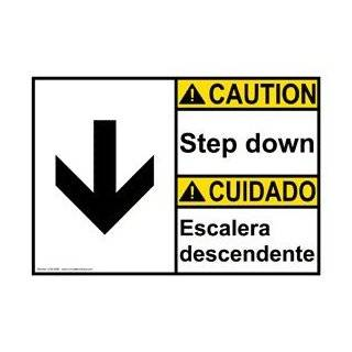 ANSI CAUTION Step Down With Symbol Bilingual Sign ACB 5890