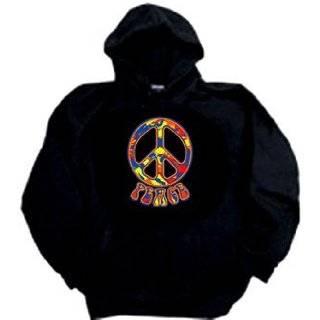 Peace Sign Funky 70s Love Symbol Retro Hoody: Clothing