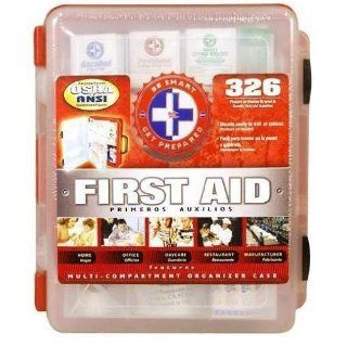 First Aid Kit With Hard Case  326 pcs  First Aid Complete Care Kit   Exceeds OSHA & ANSI Guidelines   Ideal for the Workplace   Disaster Preparedness (Color Red): Health & Personal Care