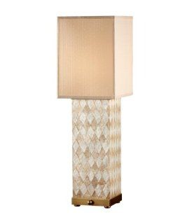Murray Feiss 9971HNS/DCB Nevena 1 Light Table Lamp, Harlequin Pattern Natural Shell / Dark Coffee Brown