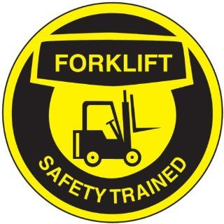 "Accuform Signs LHTL336 Adhesive Vinyl Hard Hat/Helmet Safety Message Label, Legend ""FORKLIFT SAFETY TRAINED"" with Graphic, 2 1/4"" Diameter, Black on Yellow (Pack of 10) Industrial & Scientific"