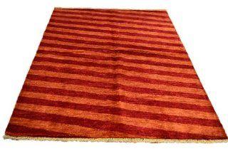 Hand Knotted 4' X 6' Burnt Orange Modern Gabbeh 100% Wool Oriental Rug Sh5280