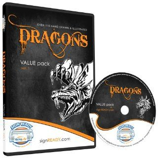 Dragons Clipart Vinyl Cutter Plotter Clip Art Images Sign Design Vector Art Graphics CD ROM (Volume 1): Software