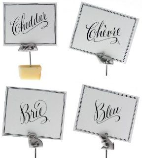 America Retold Nickel Mouse Cheese Markers, Set of 4 with Cards Kitchen & Dining