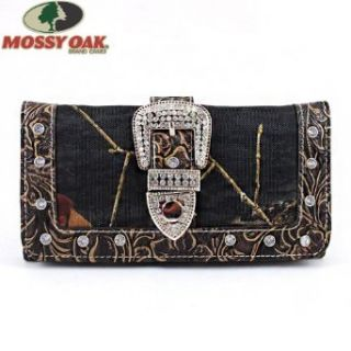 Mossy Oak Western Rhinestone Gemstone Studded Buckle Flower Embossed Camouflage Wallet in Camo Coffee Brown: Clothing