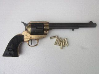 "Peacemaker Colt 45 Black/Brass Non Firing Replica Gun (7.5"" Barrel) w/ Replica Brass Ammo Sports & Outdoors"