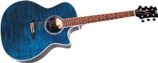 Dean Exotica Acoustic Electric Cutaway Guitar, Trans Blue with Tuner Preamp Musical Instruments