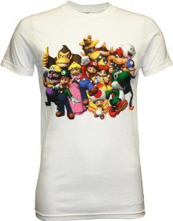 Nintendo Super Mario Character Line Up Men's Slim Fit T Shirt Clothing