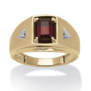 Men's 1.20 TCW Emerald Cut Genuine Garnet Diamond Accent 10k Yellow Gold Classic Ring: Jewelry