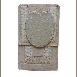 BEIGE 3 Piece Embroidered Bathroom Rug/mat Set. Bath Rug/mat, Contour Rug/mat, Toilet Seat Lid Cover Standard Round.