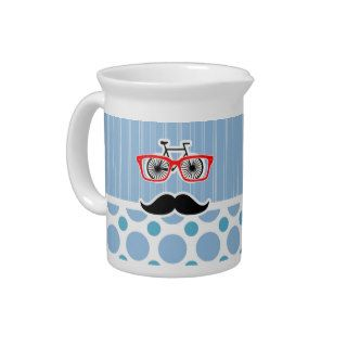 Funny Baby Blue Mustache; Hipster Pitchers