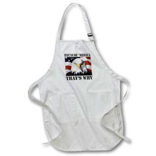 apr_149767_2 EvaDane   Funny Political Quotes   Because 'Merica that's why. American Flag with Eagle.   Aprons   Medium Length Apron with Pouch Pockets 22w x 24l   Kitchen Aprons