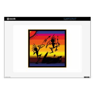 "Native American Indian Cave Art Decal For 15"" Laptop"