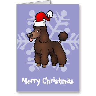 Christmas Poodle (brown puppy cut) Cards