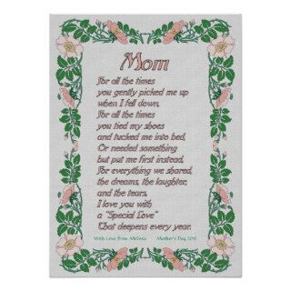 Mothers Day Poem with Floral Border Print