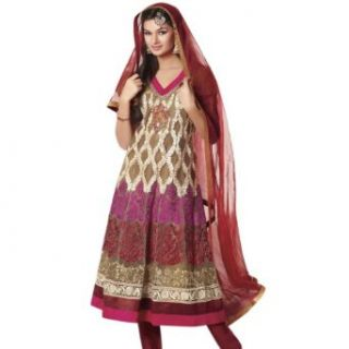 Triveni Beautiful Net Embroidered Salwar Kameez 406: Clothing