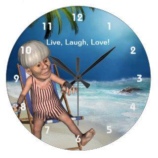 Funny Grandpa Beach Wall Clock