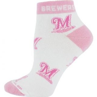 Milwaukee Brewers Pink Team Logo Ladies Low Cut Socks: Clothing