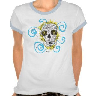 Cute Girly Abstract Sugar Skull Tattoo Graphic Art Tees