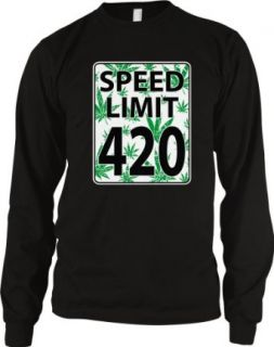 Speed Limit 420 Men's Long Sleeve Thermal, Funny Marijuana Pot Weed Leaves Speed Limit Sign 420 Design Men's Thermal Shirt: Clothing
